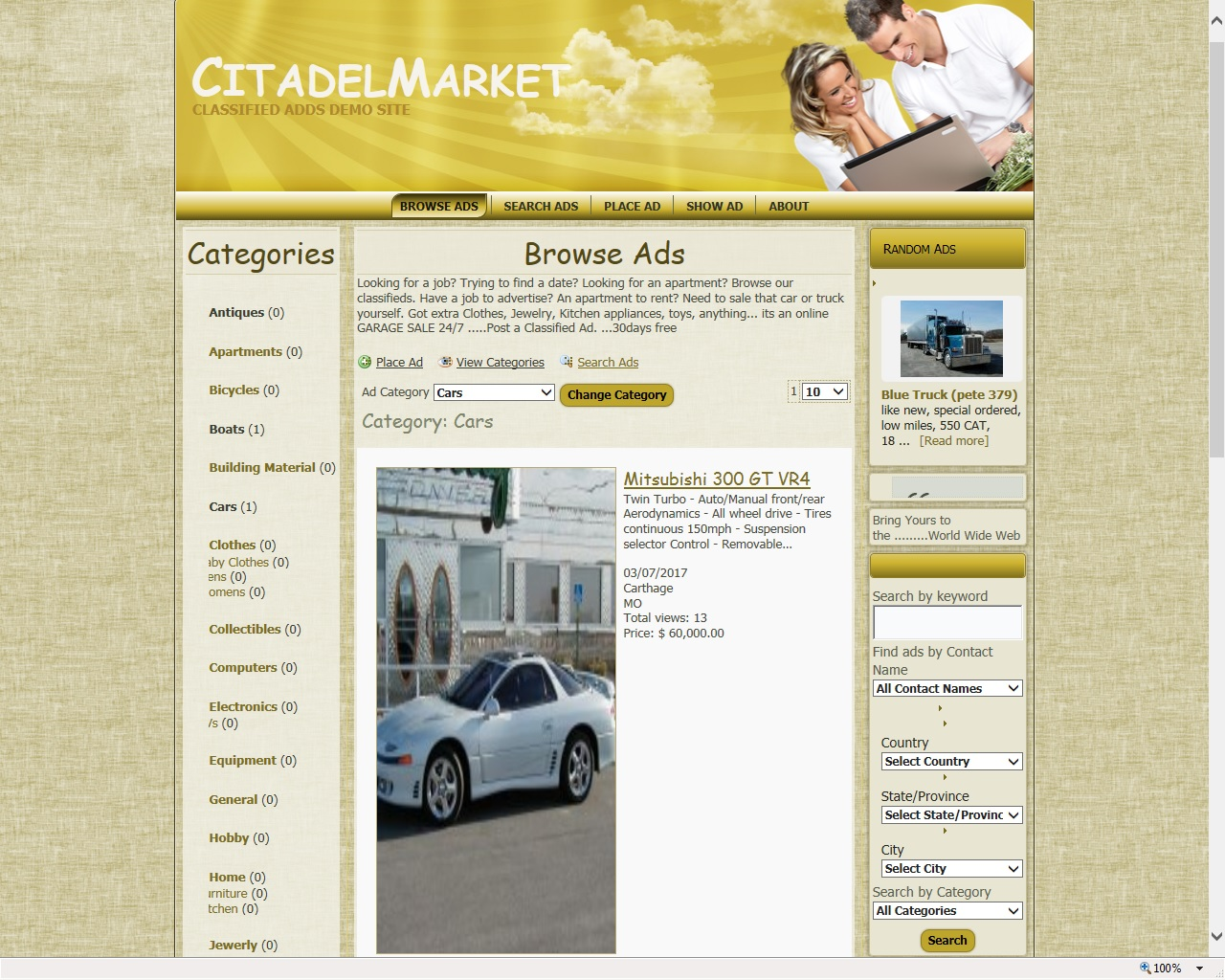 Citadelmarket Classified Ads Website